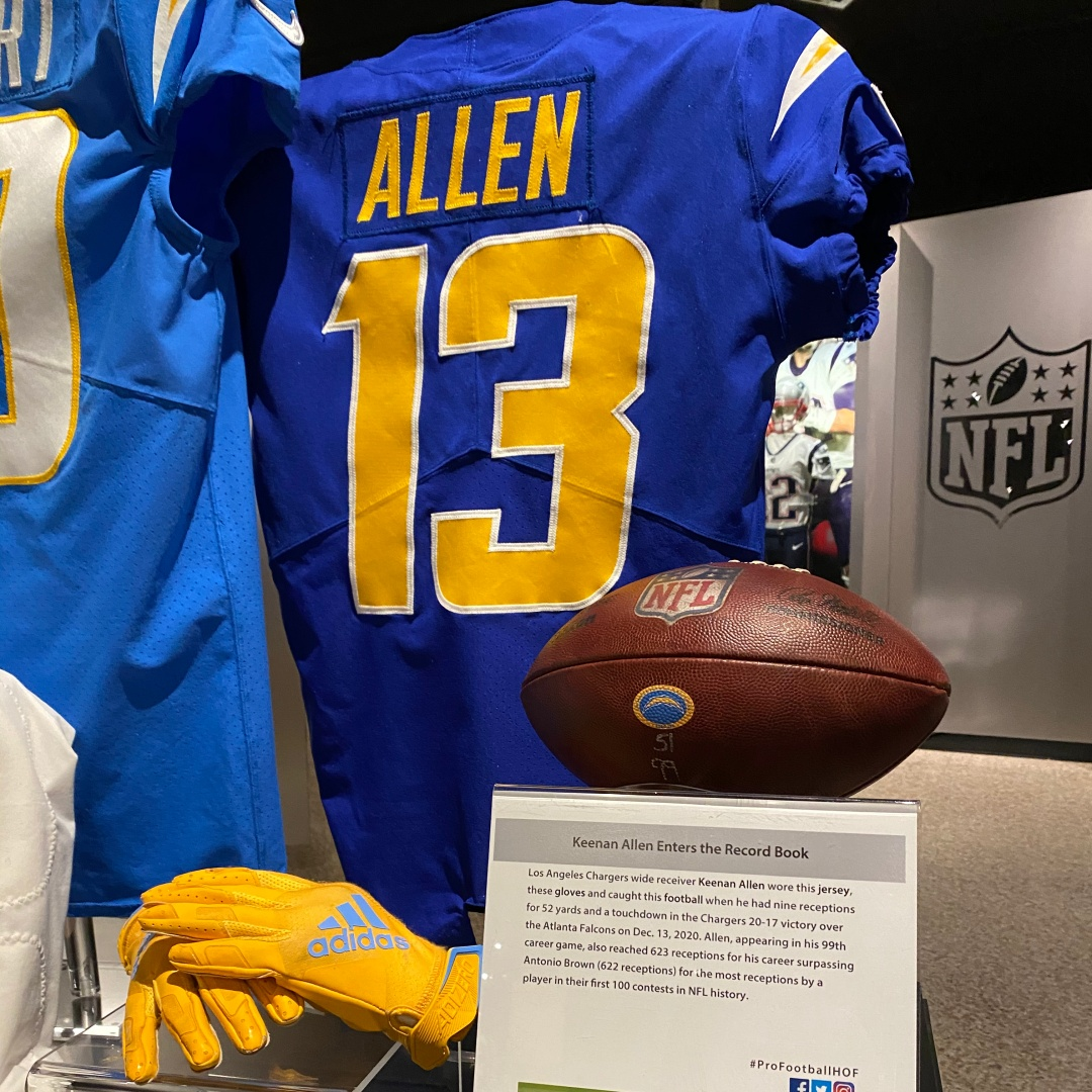 In Week 14, @Chargers WR @Keenan13Allen recorded his 623rd career reception while playing in his 99th game. He set the record for the most receptions in @NFL history by a player in their first 100 contests.  More about his jersey & gloves now on display: