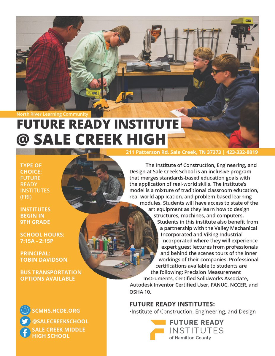 Today's #ChooseHamilton school spotlight is Sale Creek High, which offers the Institute of Construction, Engineering, and Design, an inclusive program that merges standards-based education goals with the application of real-world skills.  Learn more: .