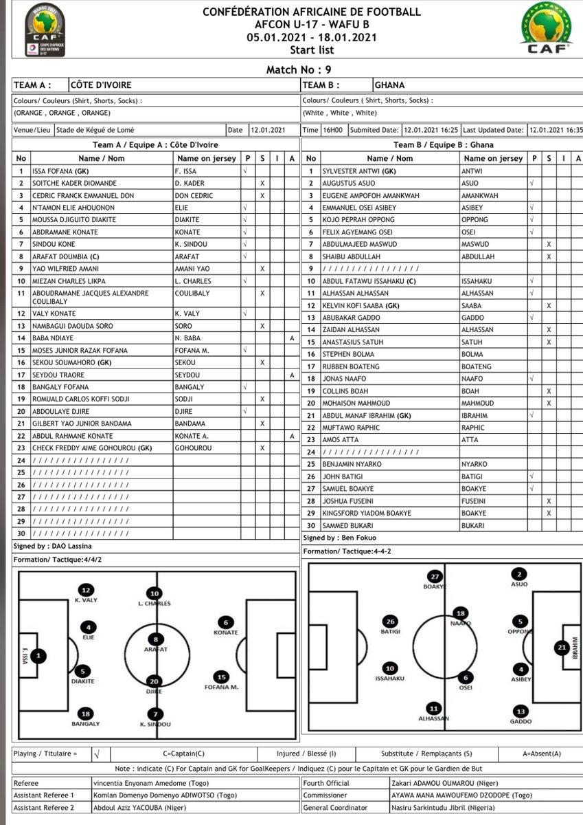 #Elim #Can U17 - tournoi ufoa b Togo 2020  Poule B - La feuille de match  #Civ - #Ghana coup d'envoi 16h00 gmt au stade de Kegué - Lomé