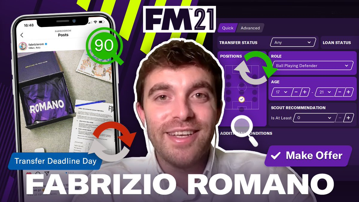 Transfer Guru 📲 Sports Reporter 📰 Football Manager fanatic 🙌  Discover what it's like for @FabrizioRomano to break the biggest stories and how it helps him with online saves in #FM21  Watch now: