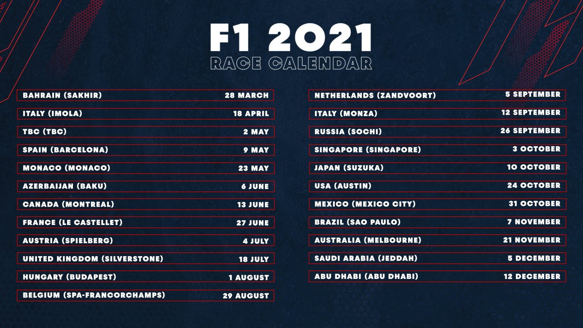 📆 𝗨𝗽𝗱𝗮𝘁𝗲𝗱 𝗰𝗮𝗹𝗲𝗻𝗱𝗮𝗿 🌎 Our 2021 charge will begin in Bahrain on 28 March 💪🇧🇭 #ChargeOn 🤘 #F1 https://t.co/NA0bA3WoDy