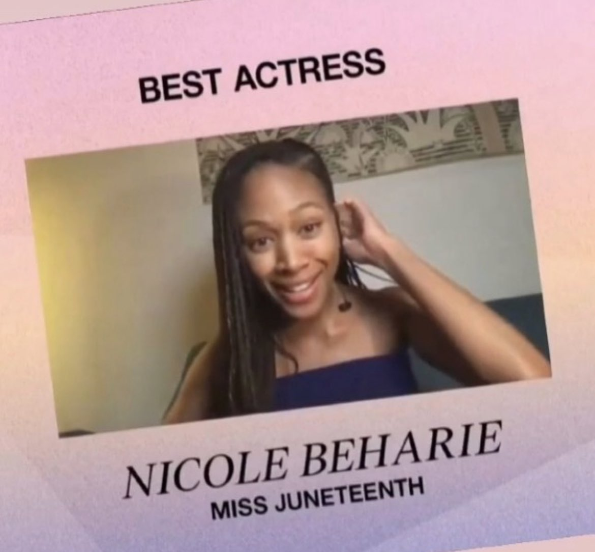 She's soo good! Ty @cgpeoples for bringing us this #gem! Congrats  @NikkiBeharie 🎉🎉🎉 #MissJuneteenth