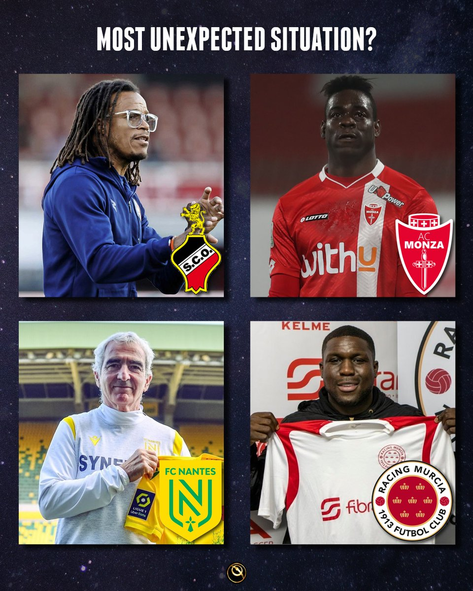 🧐  What's the most unexpected situation:   - Davids managing Olhanense atPortuguese 3rd divisionside? - Balotelliplaying for Monza, in the Italian 2nd division? - Domenech coaching Nantes? - Drenthe playing for Racing Murcia, in the 3rd Divisionof the Spanish league?