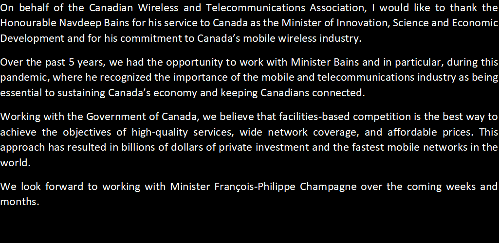 test Twitter Media - Thank you @NavdeepSBains for your service to Canada as Minister of @ISED_CA and your commitment to Canada's mobile wireless industry.   Statement from President and CEO @RobertGhiz: https://t.co/xkll4jrmkZ