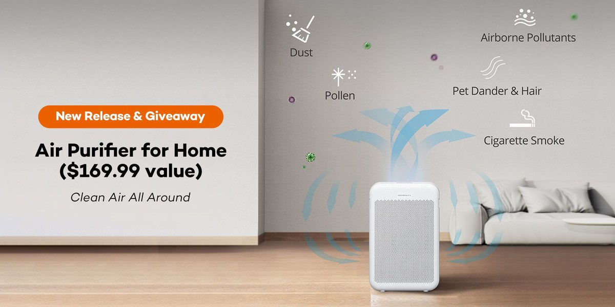 Air Purifier #Giveaway (US only, ends on Jan.19)   First Prize (1 winner) - our newest Air Purifier Participation Prize (5 winners) - 50% OFF Coupon for this Air Purifier   👇 - RT & tag 3 friends - Click https://t.co/7rYzc4KaDz, comment what do you think about this air purifier https://t.co/VhEarjnqIw