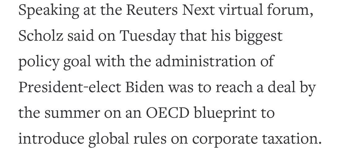 #Germany's Finance Minister @OlafScholz says his biggest policy goal with incoming @JoeBiden Administration is to reach agreement on @OECD led negotiation to #tax the #digital #economy  👉https://t.co/qnZKTUaX9h https://t.co/wq61toOVDF