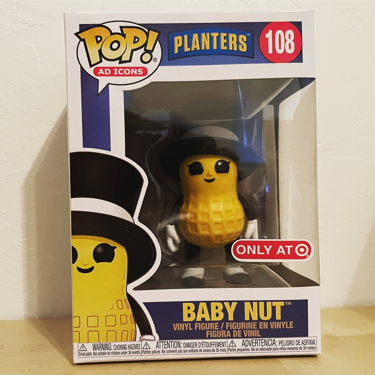 Baby Nut has finally arrived! Still waiting on the flocked Slush Puppie though #funko #funkopop #funkopops #funkoadicons #adicons #babynut #planters #planterspeanuts https://t.co/nHxyLgz9Po