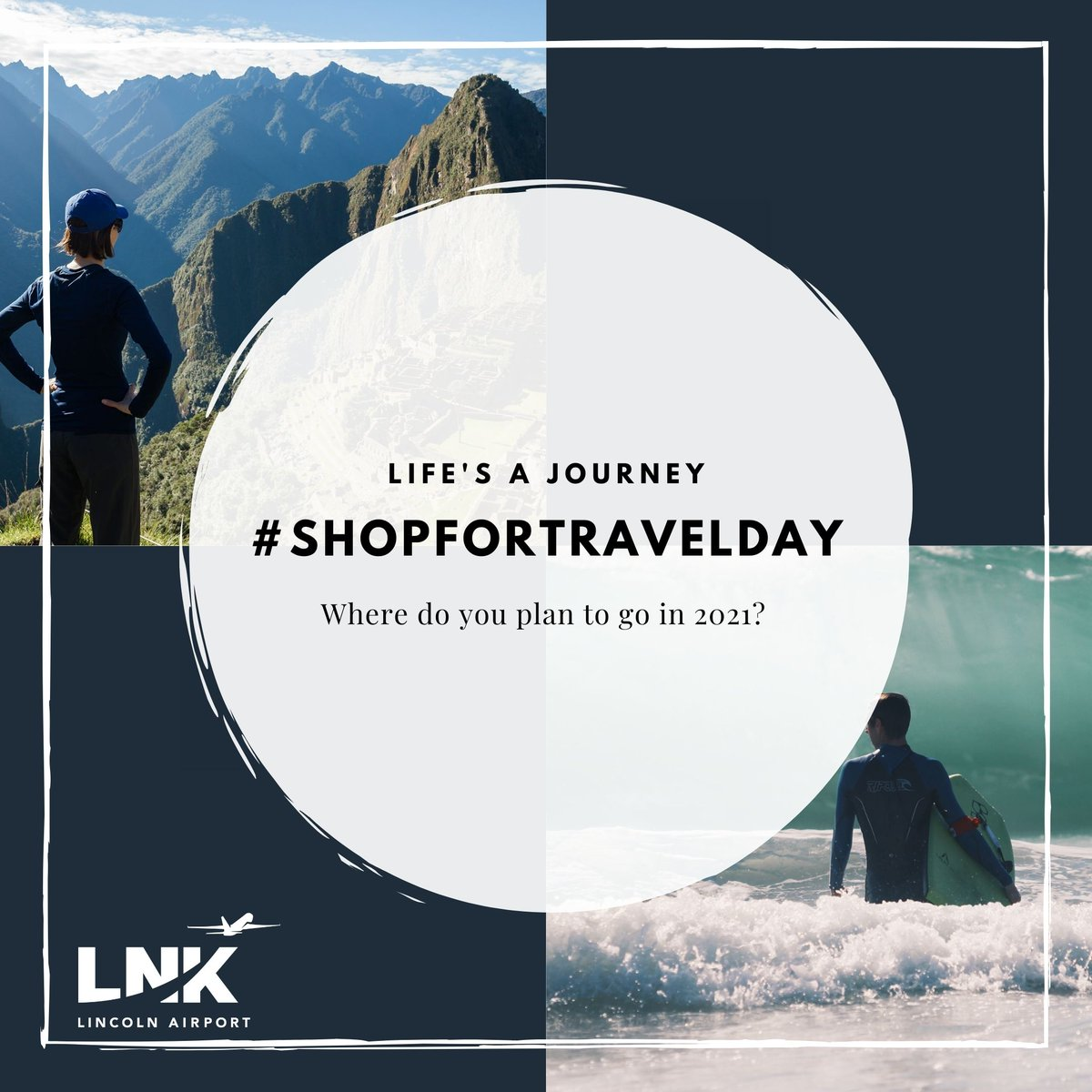 The second Tuesday in January is National Shop for Travel Day. As the holiday season fades away, our minds turn to our next opportunity for a vacation or a trip to see family and friends.   Where do you plan to go in 2021?   #ShopforTravelDay #FlyLNK #FlyLocal