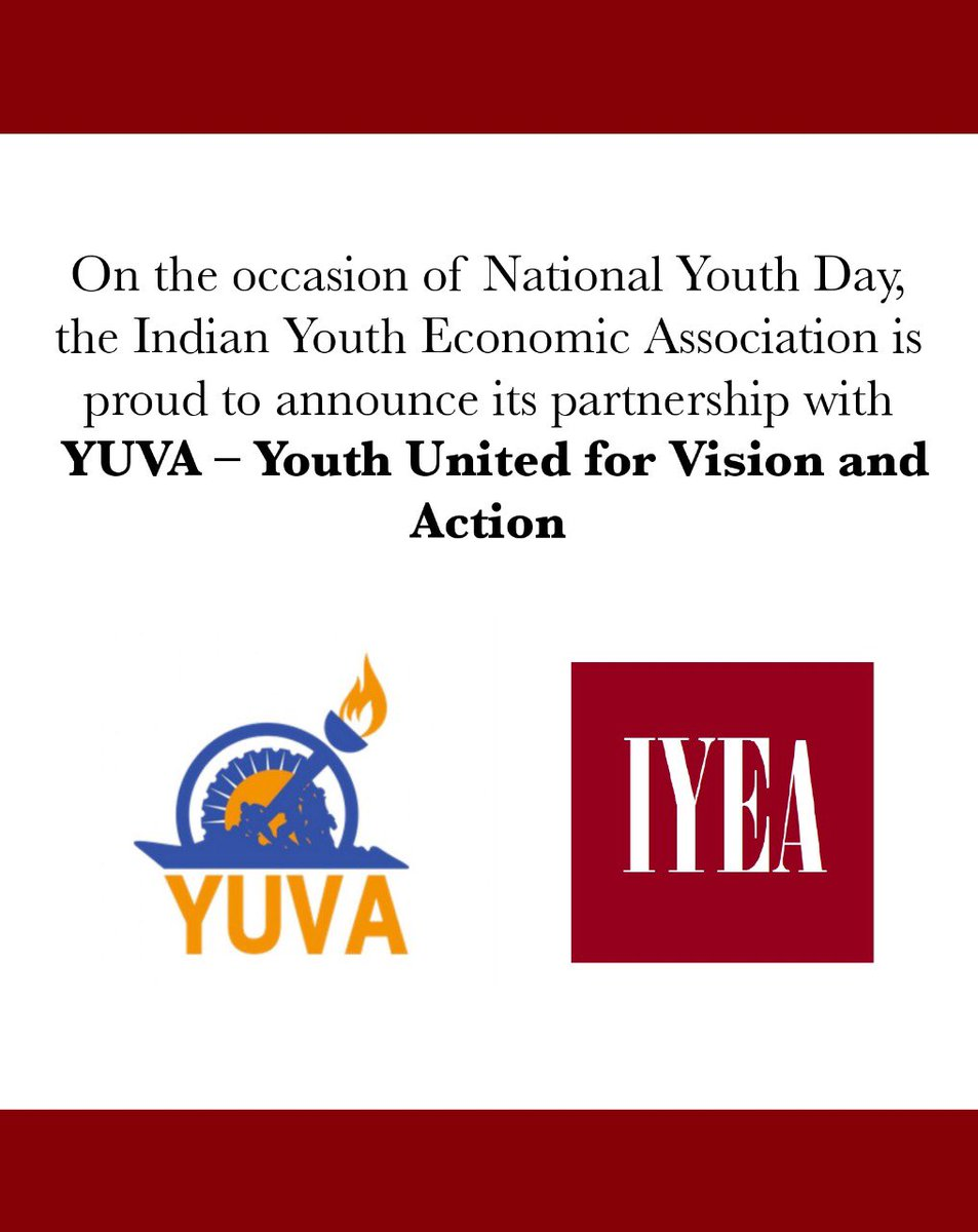 On the occasion of National Youth Day, the Indian Youth Economic Association proud to announce its partnership with YUVA- Youth United for Vision and Action.