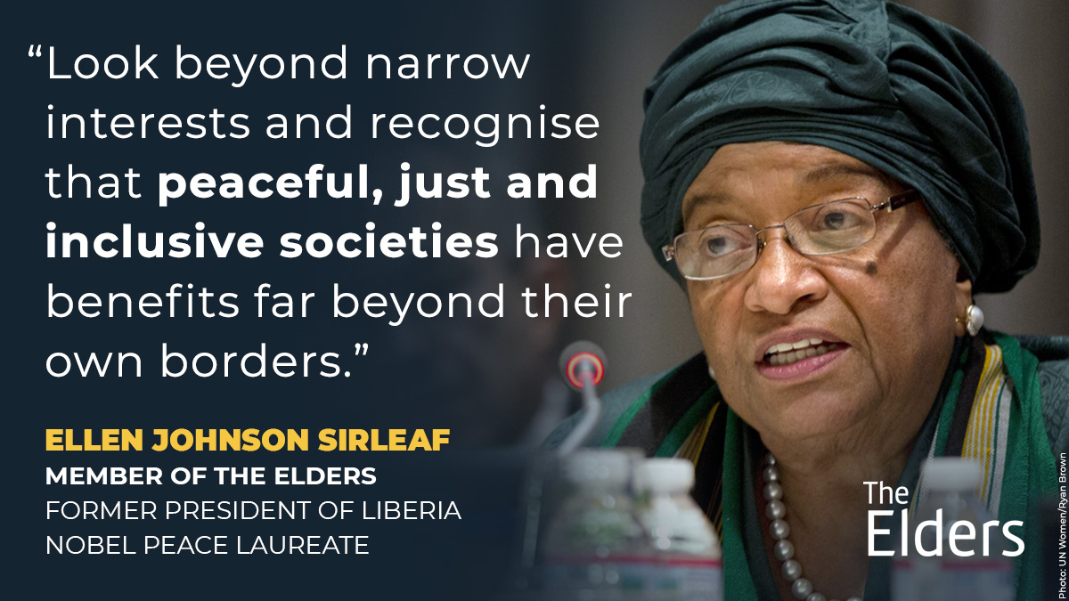 Underscoring our interconnectedness, @MaEllenSirleaf urges members of the UN Security Council to take bold steps in 2021 to end the vicious cycle of conflict, displacement and despair.  #UNSC
