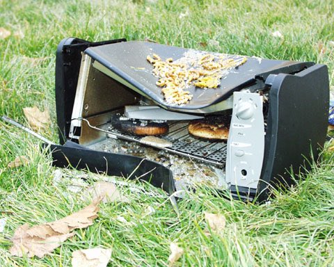 2 pic. Today my toaster oven betrayed me.  I retaliated.   The lesson we can all take away from this: