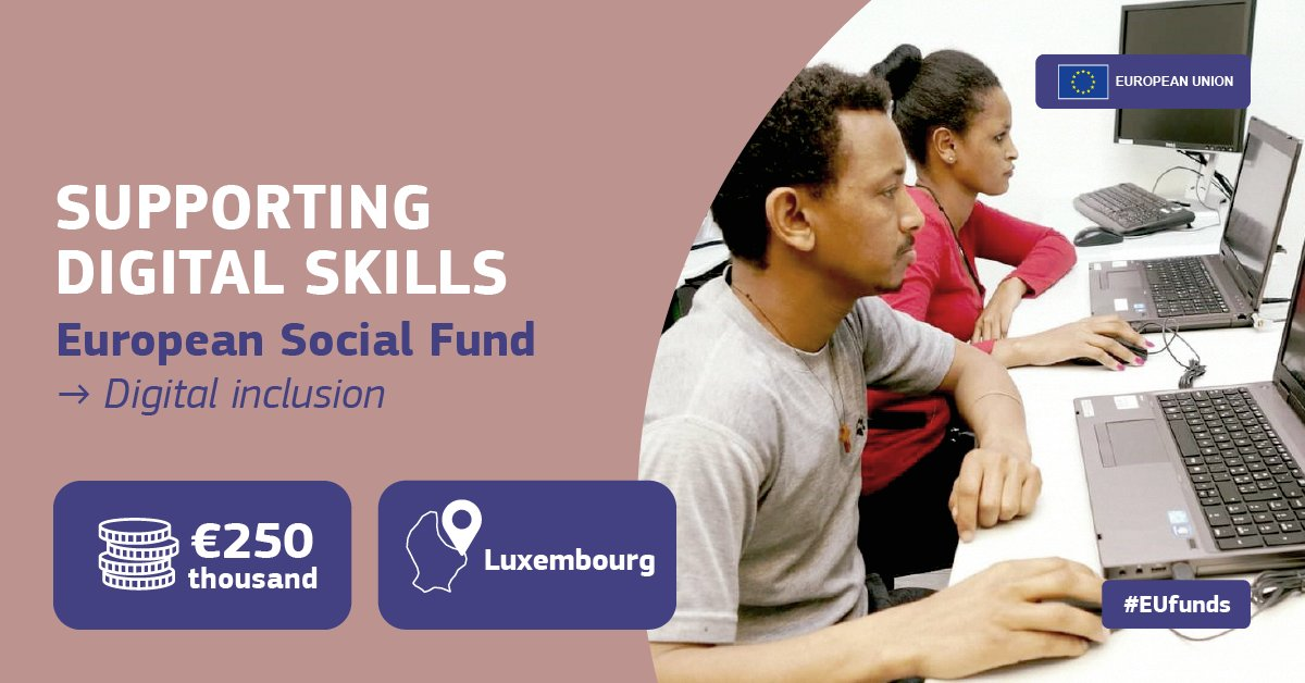 """The """"DigiCoach"""" project in 🇱🇺 Luxembourg, backed by European Social Fund is helping low-income families, refugees, migrants and jobseekers to access home-based schooling and improve their #digital literacy skills during the #COVID19 pandemic.  #EUfunds👉 https://t.co/2SSpRZA5GC https://t.co/kza2oVPp83"""
