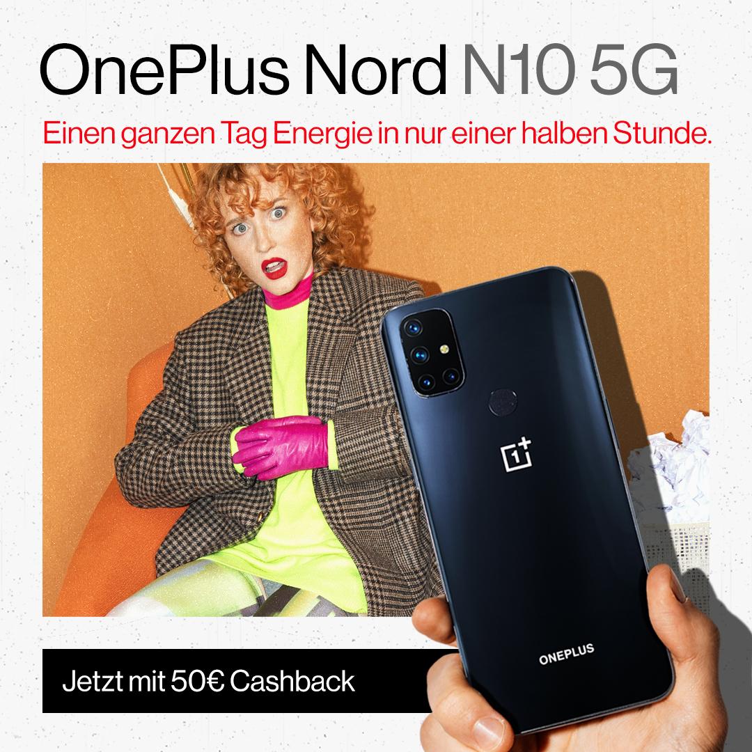 Das OnePlus Nord N10 5G steht für Geschwindigkeit, sei es beim Aufladen oder Downloaden im 5G-Netz. Sichere dir jetzt das einmalige Angebot und erhalte 50 Euro vom Kaufpreis von uns zurück!  Mehr dazu findest du bei DeinHandy, Sparhandy, MobilcomDebitel, Cyberport sowie Logitel. https://t.co/fnsBFZdFBw