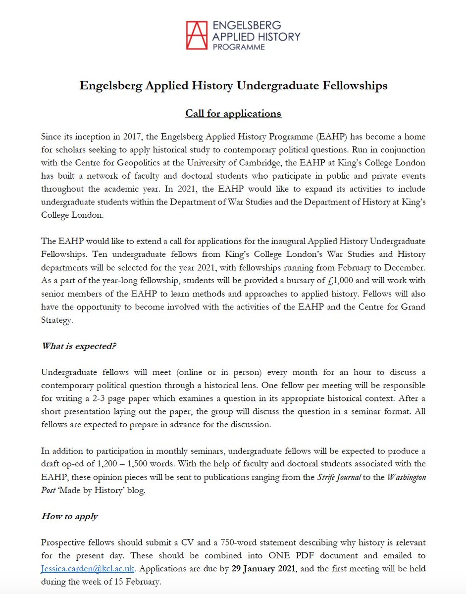 We are pleased to announce a call for applications to our inaugural Engelsberg Applied History Undergraduate Fellowships. For more information: eahp.info/eahp-undergrad… @warstudies @kingshistory @KingsSSPP @DSD_Kings