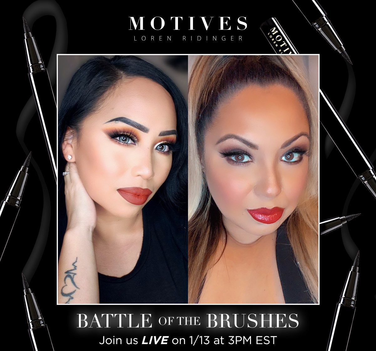 We're winging it tomorrow!   Learn to slay in liquid liner as we go LIVE on Instagram to learn some epic #eyeliner looks from Motives #Beauty Advisors, Ka and Laverne. They'll be using the new Precisely The Point Eye Line to achieve their looks.   See you there🖤