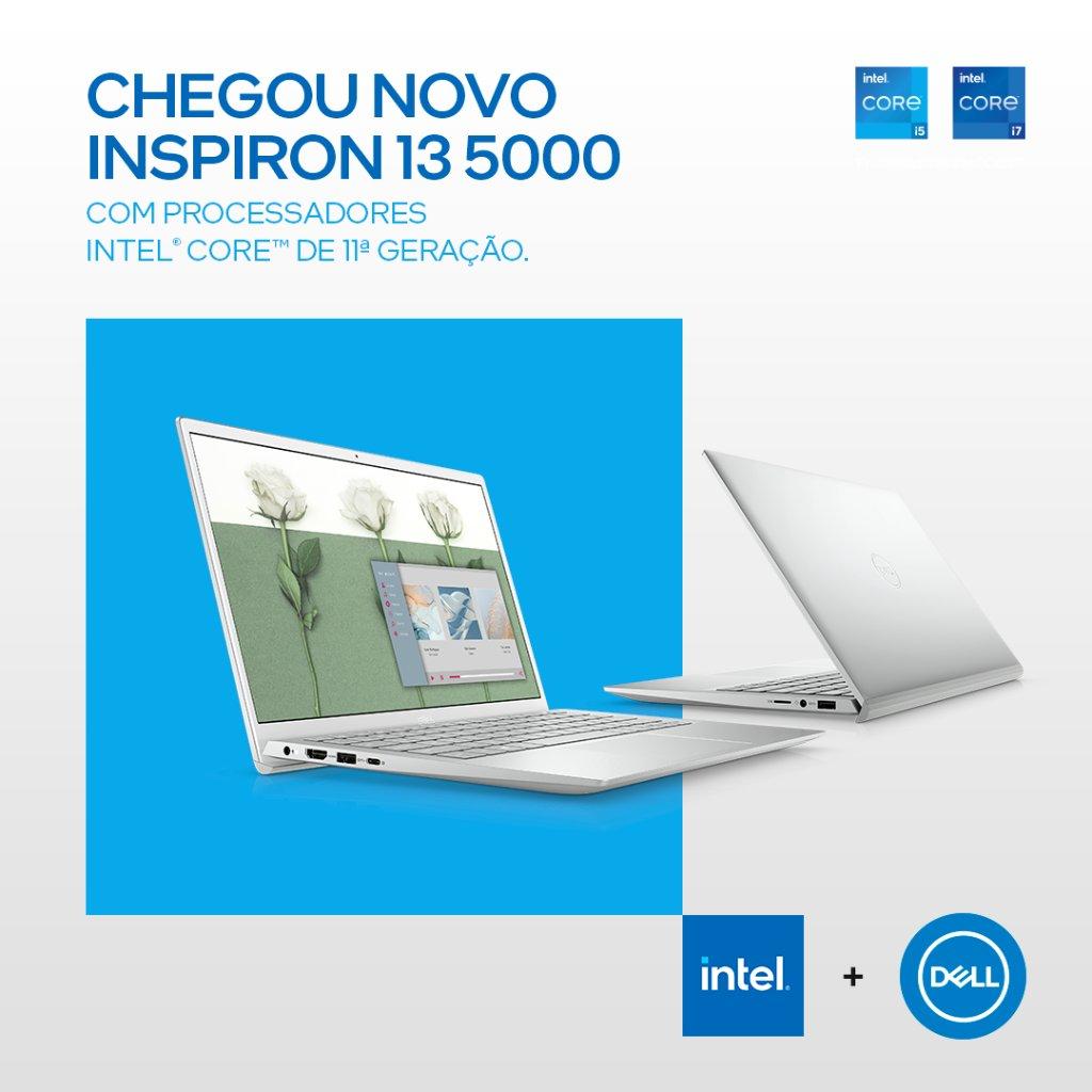 Ele chegou! A @DellnoBrasil lançou o Inspiron 13 5000, com a 11ª geração de processadores Intel Core, pra você já começar 2021 realizando um dos seus sonhos 💙 Acesse e garanta já o seu: https://t.co/YsmtpMmLlp https://t.co/cWbx9sjn3F