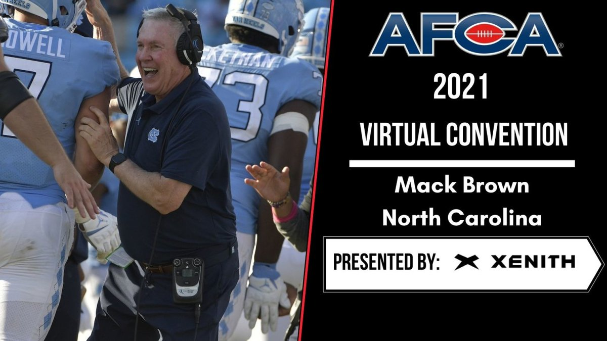 Don't miss the 2nd day of the AFCA Virtual Convention featuring Victory Formation Speaker, @CoachMackBrown presented by @XenithFootball