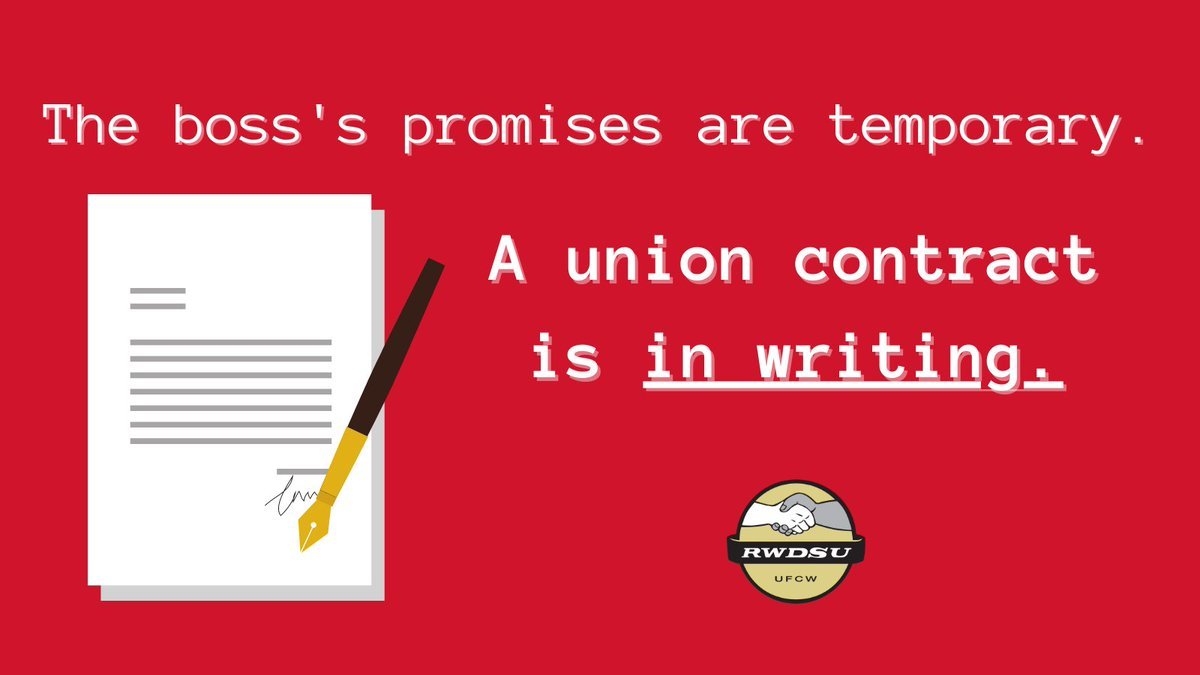 The boss's promises are temporary, but a union contract is in writing. Organize a union with your co-workers to make your job a better place to work! Contact an organizer today:   #1u #UnionStrong