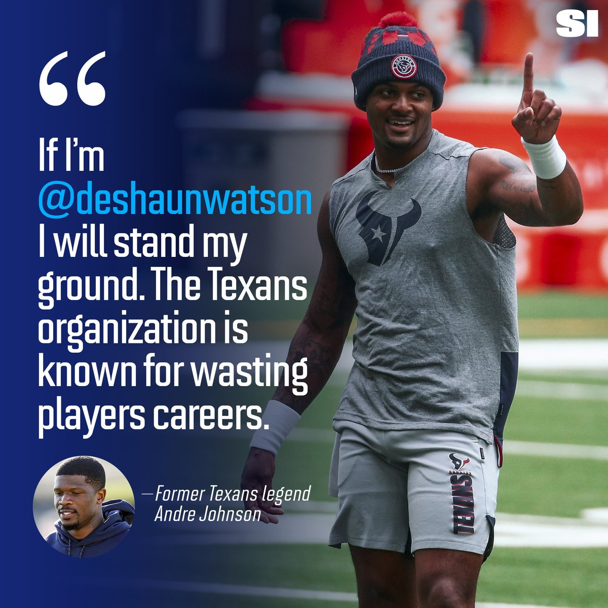 RT @SInow: Andre Johnson doesn't want Deshaun Watson to waste away his career: https://t.co/kzGCKNNjcn