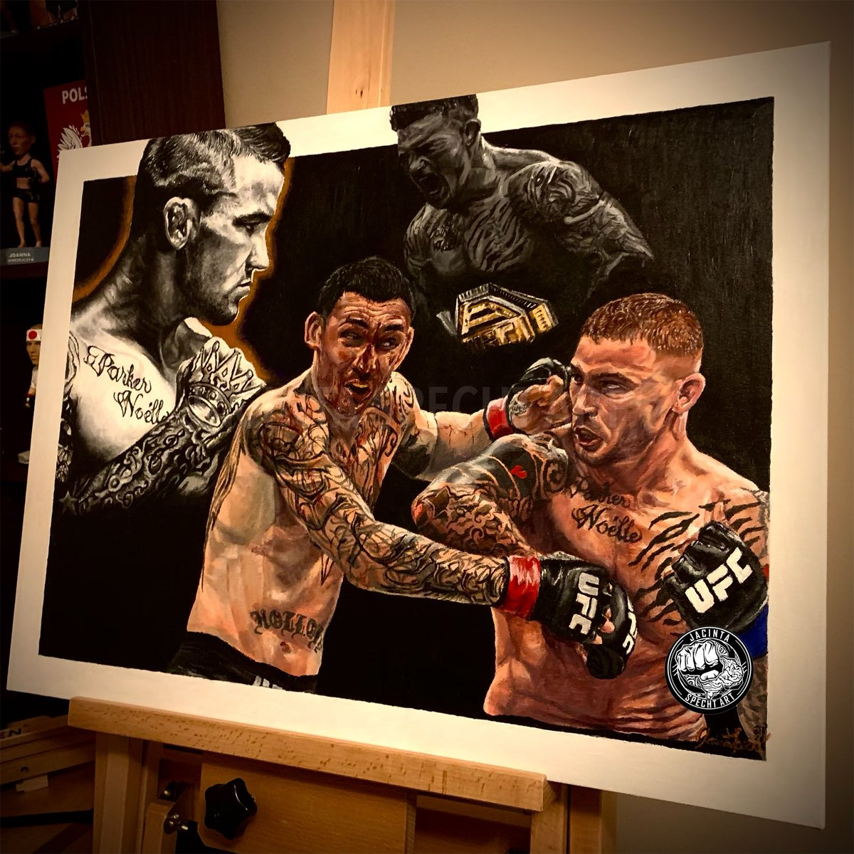 Let's go @DustinPoirier! Huge fan and met you at UFC Calgary! Hoping that you'll see my painting. Love if you guys could tag him! #paidinfull #thediamond #dustinpoirier #UFC257 @espnmma @ufc