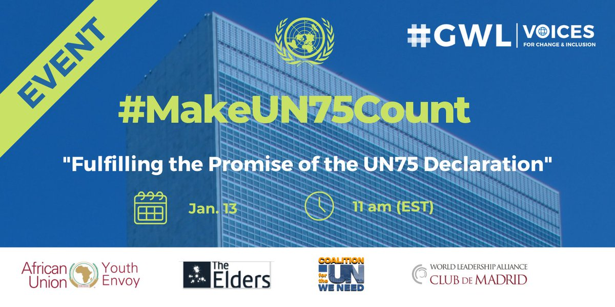 📆On wednesday at 11:00 (NY/ECU time) I'll be sharing with @MaryRobinsonCtr to discuss the future of the  @UN and the need for a strong and efficient multilateral system  📢#GWLvoices #MakeUN75Count   ➕info and register here:  ➡️