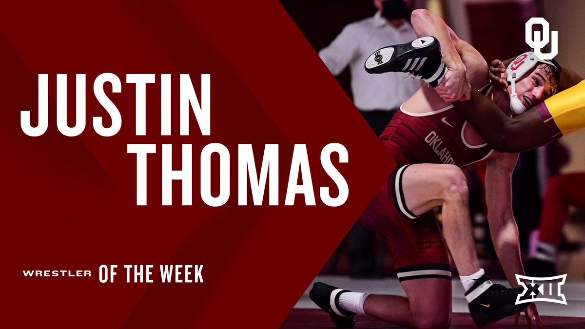 #Big12WR started off strong and so did @OU_Wrestling's Justin Thomas. 💪 Details ➡️ big12.us/3bwEz64
