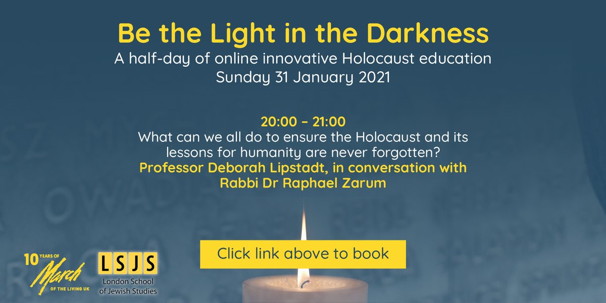 'What can we all do to ensure the Holocaust and its lessons for humanity are never forgotten?' Join us to hear from Professor @deborahlipstadt in conversation with Rabbi Dr Raphael Zarum. Book at https://t.co/ODuqBwzep6   @SuperSedra @LSJS_Hendon #holocausteducation #antisemitism https://t.co/ZrXfI5pIW0