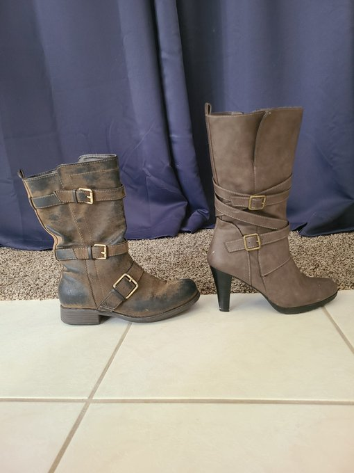 2 pic. Choices, choices...do we complete the outfit will full on lesbian motorcycle boots? Or go MILF-mommy