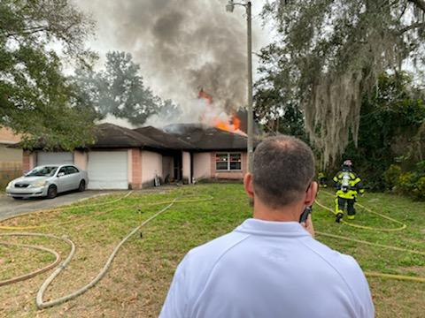 HCFR battled a single-story house fire off US 41 & E 143rd Ave. late this morning. Arriving crews reported flames through the roof. We made sure all residents out safe and had fire under control w/in 20 min. w/no injuries, but major damage inside. The cause is under investigation