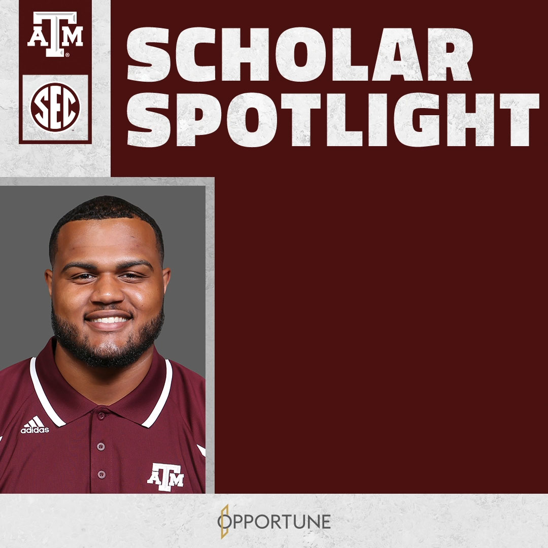 Congratulations to @AggieFootballs @bigg_dan65, the latest Scholar Spotlight honoree! 📚 ✏️ 🎓 @OpportuneLLP | #GigEm