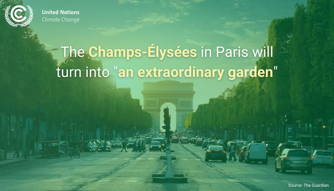 "The Champs-Élysées - ""the world's most beautiful avenue"" - is going green 💚  Less space for 🚗, more space for 🌳: The famous street in downtown Paris is on track to become more climate-friendly."
