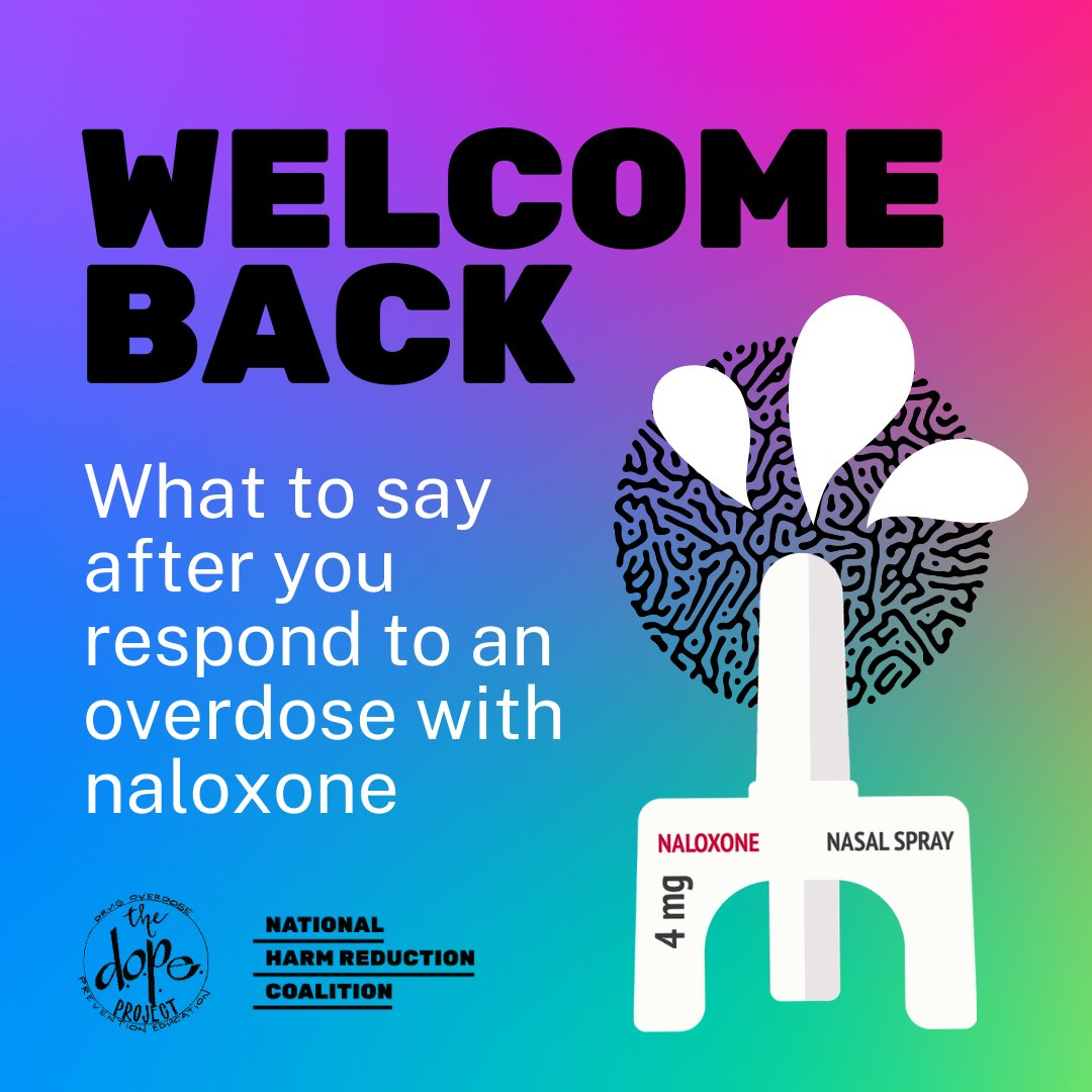 We recently had the pleasure of speaking w/ @DOPEproject team about what to do & say after you've used naloxone to reverse an overdose from opioids. A medical emergency like an overdose is traumatic & we can support ppl returning to consciousness with kindness & without judgment. https://t.co/XhLZsXfYre