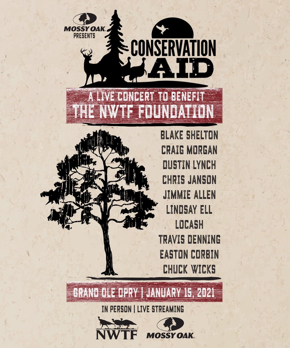 THIS FRIDAY! Live from the @opry @MossyOak presents Conservation AID, a live concert to benefit the NWTF Foundation and wildlife conservation.  Get your livestream tickets now!   By purchasing a ticket, help preserve and protect precious lands and habitat.