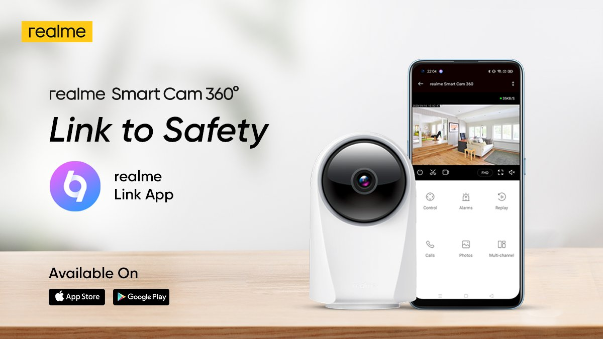 Take complete control of your surroundings with #realmeSmartCam. Connect to realme Link app for a smarter home.  Download now: