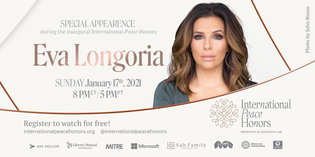 The award-winning actress and activist, @EvaLongoria, will join the @IntlPeaceHonors to present an award to her friend @ricky_martin on Jan. 17! She's a leader in the fight for more diverse & equitable representation both on and behind the camera. Register