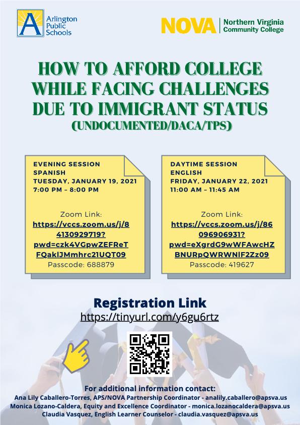 Möchten Sie lernen, wie Sie sich ein College leisten können, während Sie aufgrund des Immigrantenstatus vor Herausforderungen stehen? Siehe Flyer unten für Link. https://t.co/PpfLTMGqGr