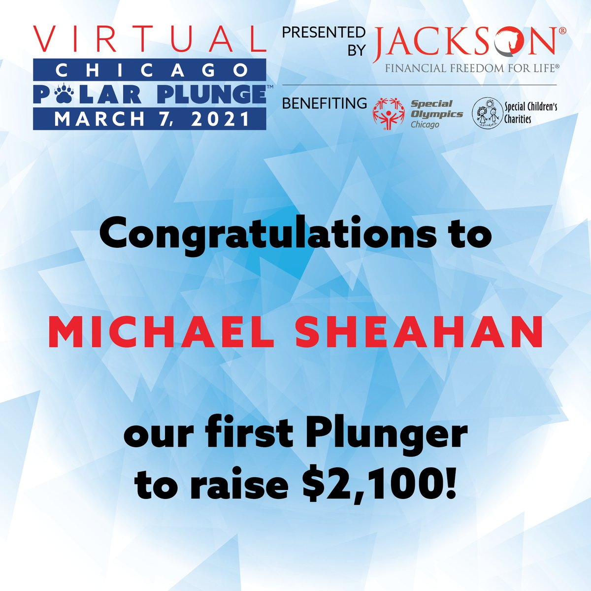 Congratulations to Michael Sheahan, the first person to raise $2100 for the 2021 Virtual Chicago Polar Plunge presented by Jackson! Thank you for working hard to support our athletes!  Sign up today at https://t.co/jCR0lmzAzY https://t.co/ajnmyewrP2