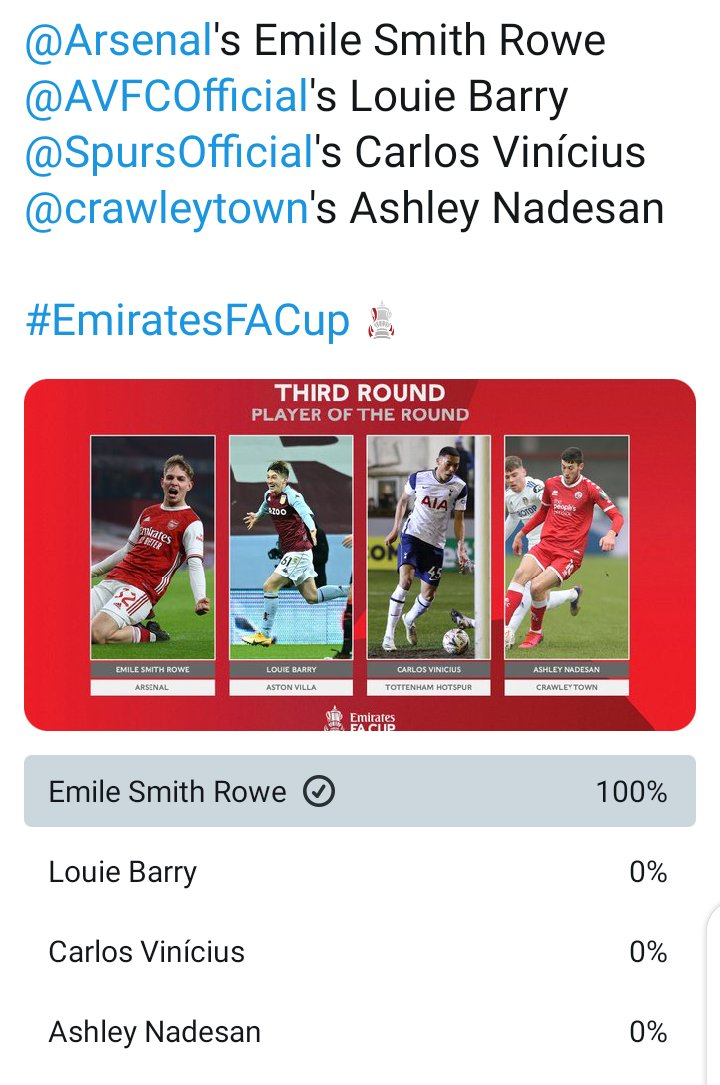 @EmiratesFACup @emirates @Arsenal @AVFCOfficial @SpursOfficial @crawleytown Stop the count!!!