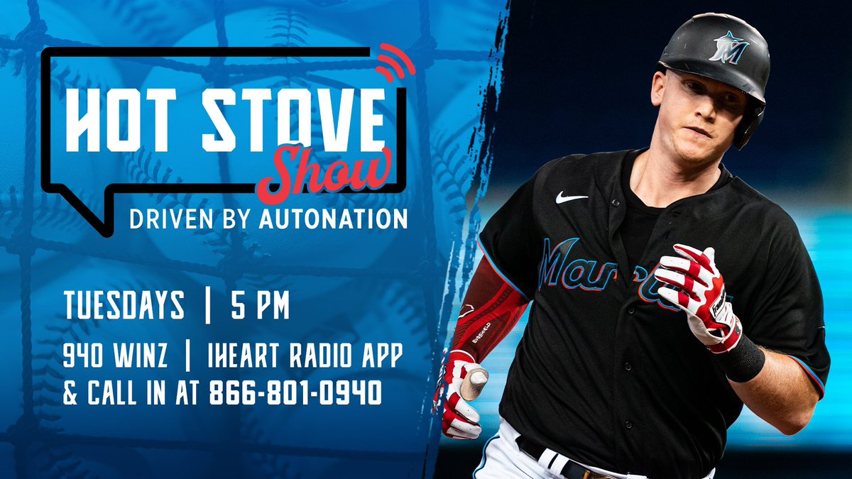 Garrett Cooper joins us tonight on The @Marlins Hot Stove Show driven by @AutoNation. Questions for @CoopaLoop1? Just reply to this tweet and he'll anwser them at 5PM. 👂: @940WINZ and @iHeartRadio app #JuntosMiami