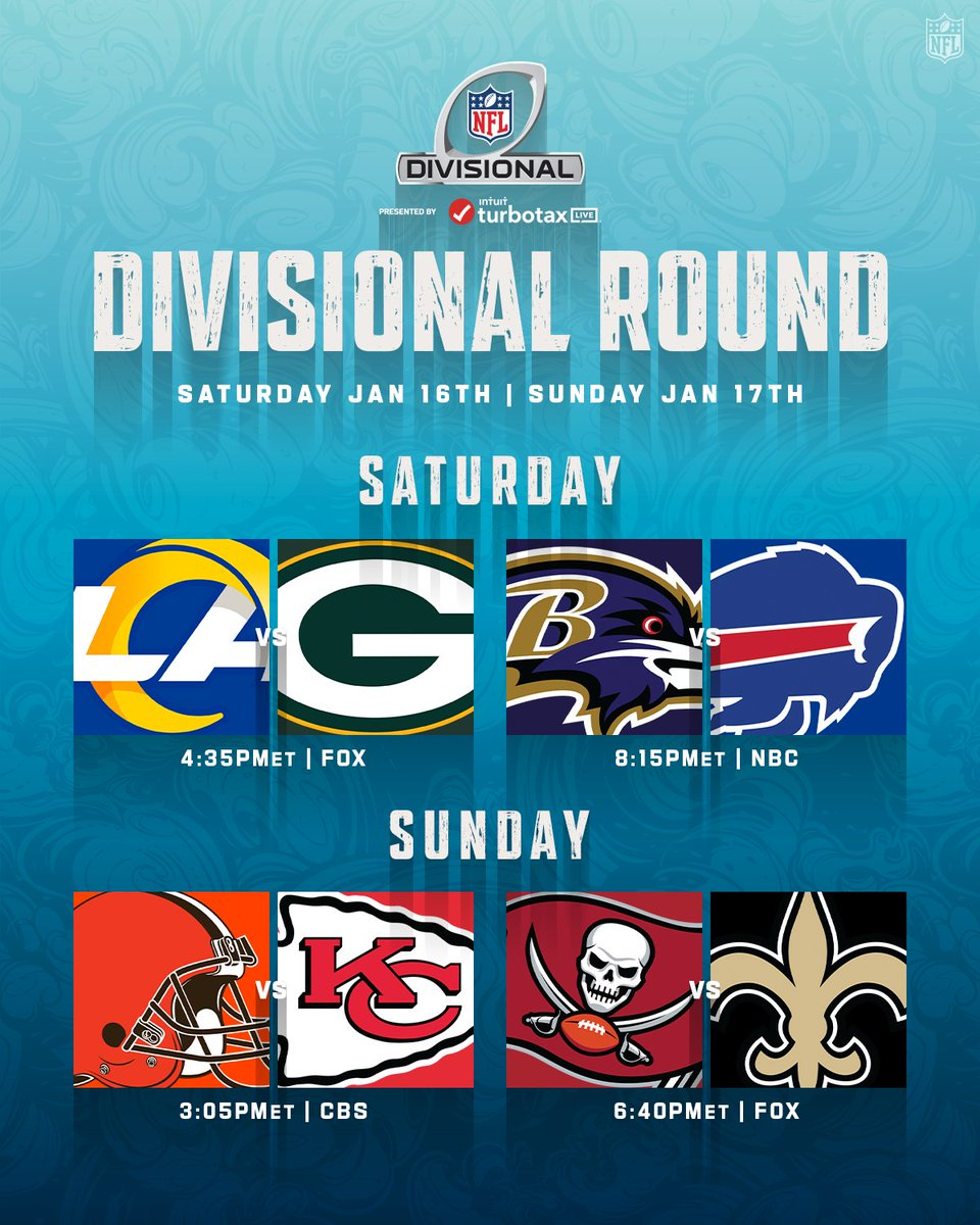 The Divisional Round matchups coming this weekend. 🏈 #NFLPlayoffs