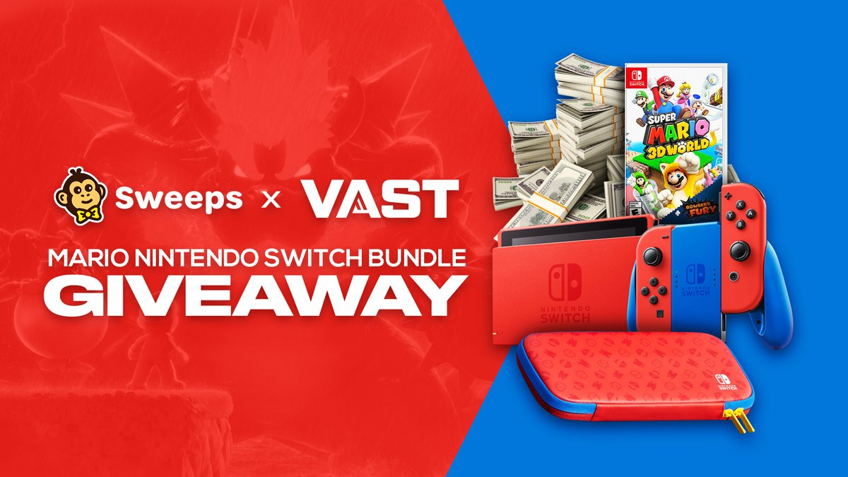 I am giving a Mario Red & Blue Edition #NintendoSwitch Bundle or $360 to one lucky follower who retweets this and tags a friend within the next 72 hours.  To enter: - Reply/Retweet with #MarioSwitchGiveaway - Follow @VastGG  Bonus prize if you have notifications on.