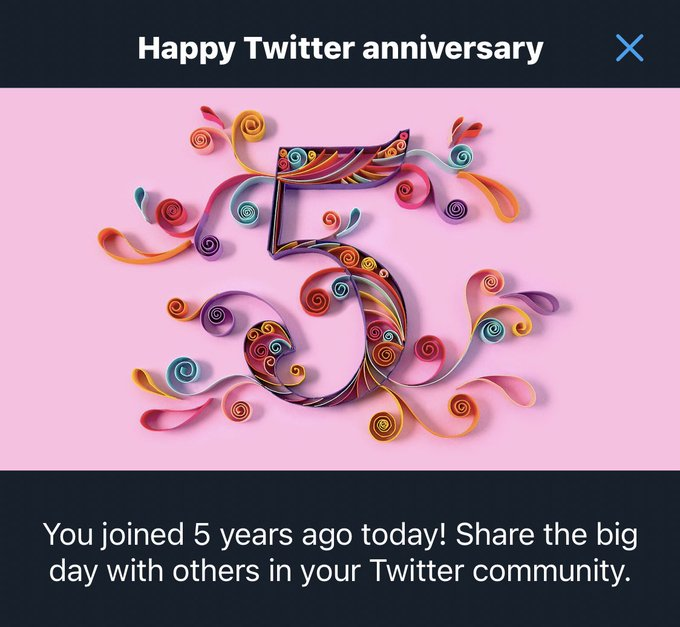 Wooooo! It's my 5 year Twitter Anniversary!! Thanks to all my followers and those who have stuck around