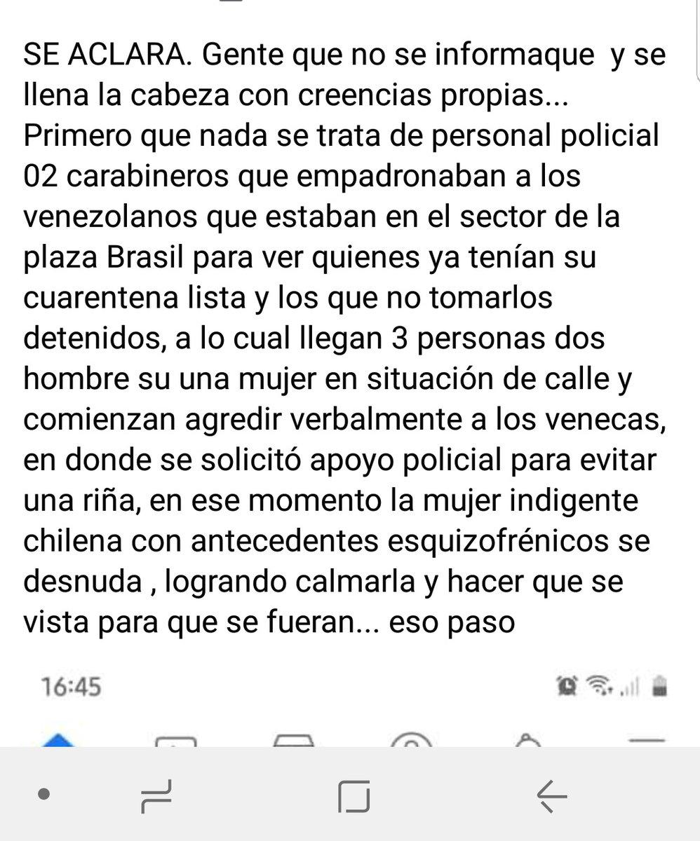 La persona que se desnuda hoy en operativo de carabineros en la Plaza Brasil,  es una indigente que sufre de esquizofrenia, es chilena.  #HablemosDeSaludMental  #Iquique