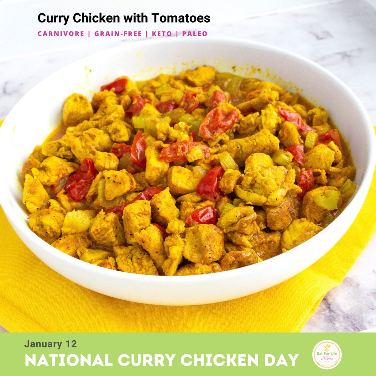 January 12 is National Curry Chicken Day! Serve it with  #vegetables #quinoa #rice #pasta #bread 😊 I had mine with #vermicelli  #nationalcurrychickenday #curry #chicken #currylover #indianfood #caribbeanfood #chickencurry #westindianfood #currynight #keto #paleo #grainfree