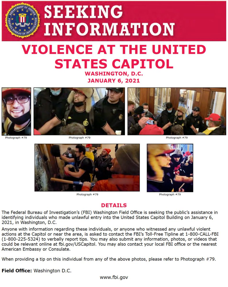 Do you recognize these individuals? #FBIWFO is seeking publics assistance in identifying those who made unlawful entry into US Capitol on Jan 6. If you have info, report it to the #FBI at 1-800-CALL-FBI or submit photos/videos at fbi.gov/USCapitol. fbi.gov/wanted/seeking…