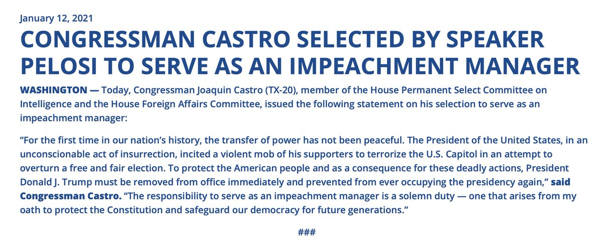 For the first time in our nation's history, the transfer of power has not been peaceful.  The responsibility to serve as an impeachment manager is a solemn duty — one that arises from my oath to protect the Constitution and safeguard our democracy for future generations.