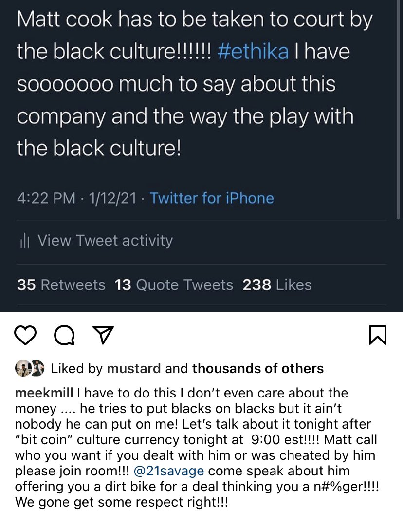 #MeekMill calls out the #CEO of #Ethika #MattCook for playing with black culture. 👀 @MeekMill @ethika