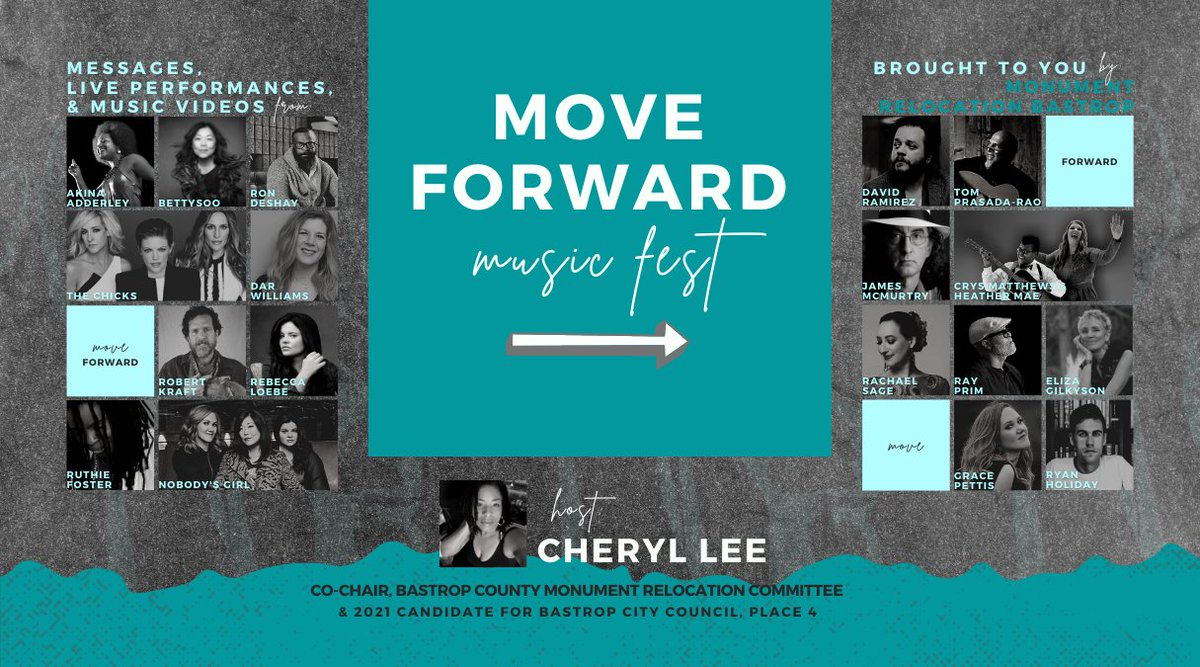 """Tune in Jan. 18th @ 6:30pm CT for """"Move Forward Virtual Music Fest"""" ft. #TheChicks to raise money to safely relocate two historic Confederate Monuments from the Bastrop County Courthouse Lawn in Texas.  Consider donating:   Watch:"""