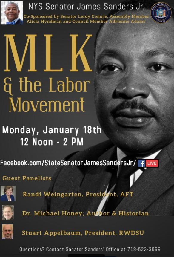 Join us Mon., January 18th at 12pm ET for a discussion on Dr. Martin Luther King, Jr and the Labor Movement. Senator Sanders will be joined by AFT President @rweingarten, @RWDSU President Stuart Appelbaum, and historian and author Dr. Michael Honey.