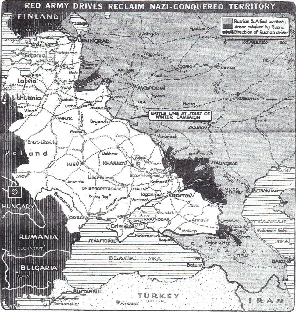 From the Finnish border in the north to the Caucasus in the south, this has been a winter of offensives for the Red Army, smashing into Axis forces at Stalingrad, Leningrad & near Moscow. New York Times map shows Soviet successes: https://t.co/qHgOBnu9Hb